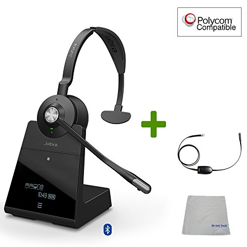 Polycom Compatible Jabra Engage 75 Wireless Headset Bundle with EHS Adapter, 9556-583-125-PLY | VVX and Soundpoint Phones, Bluetooth, PC/MAC, USB, Skype for Business (Mono - EHS - Cloth)