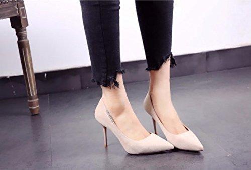 superficial 39 temperamento zapatos Una Suede Los Transpirable altos multa De Moda Diamante tacones con Boca Ajunr elegante 36 Sandalias Apricot Lado 9cm xOqTwIHBR