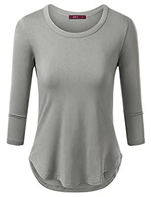 Womens 3/4 Long Sleeve Round Neck Unbalace Top T shirts