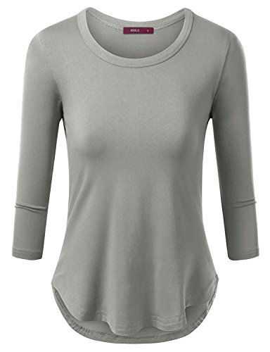 Doublju Round Neck Slim Fit Curved Hem T-Shirt For Women With Plus Size