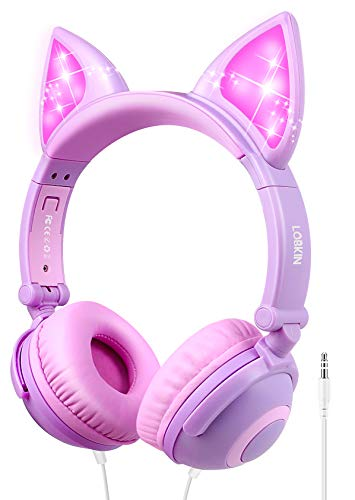 LOBKIN Kopfhörer Kinder, Katzenohr Kopfhörer mit Leuchtender LED,Faltbarer Leichter-Kopfhörer Kinder mit 3.5mm Audio Kable für Smartphone, Tablet, IPad, Laptop, Computer, MP3/4 (Purple+Pink)