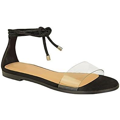 Damen Sommer-Sandalen im Gladiator-Stil - mit transparentem Perspex - zum Binden