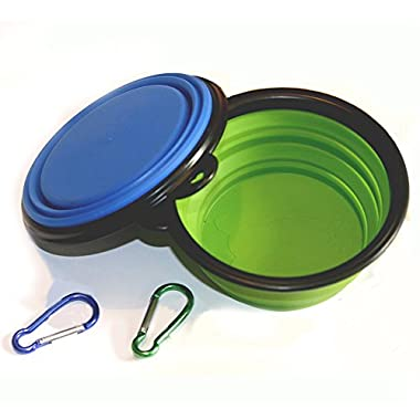Comsun 2-pack Collapsible Dog Bowl, Food Grade Silicone BPA Free FDA Approved, Foldable Expandable Cup Dish for Pet Cat Food Water Feeding Portable Travel Bowl Blue and Green Free Carabiner ¡­