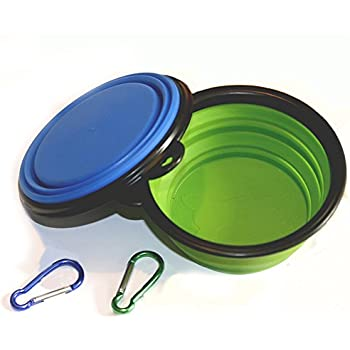 Comsun 2-pack Collapsible Dog Bowl, Food Grade Silicone BPA Free, Foldable Expandable Cup Dish for Pet Cat Food Water Feeding Portable Travel Bowl Blue and Green Free Carabiner ¡­