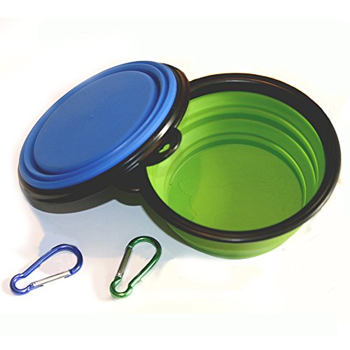 Comsun 2-pack Collapsible Dog Bowl, Food Grade Silicone BPA Free, Foldable Expandable Cup Dish for Pet Cat Food Water Feeding Portable Travel Bowl Blue and Green Free Carabiner (Go Dog Dog Crate)