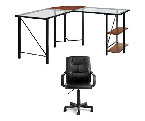 - Ameriwood Home Cruz Glass Top L-Desk, Cherry/Black Bundle with Mainstays Tufted Leather Mid-Back Office Chair, Black