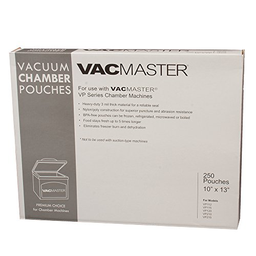 Vacmaster Vacuum Food - VacMaster 40725 3-Mil Vacuum Chamber Pouches, 10-Inch by 13-Inch, 250 per Box