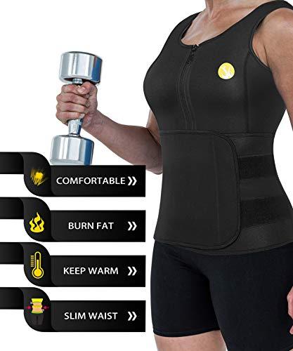 676e9839313fa Junlan Women Sauna Waist Trainer Vest Weight Loss Neoprene Tank Top Body Shaper  Cincher