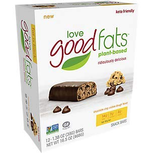(Love Food Fats Plant Based Bars, Chocolate Cookie Dough (Vegan, Keto Friendly, Low Carb, Low Sugar, Gluten-Free, Non GMO) 1.38 Ounce, 12 bars)