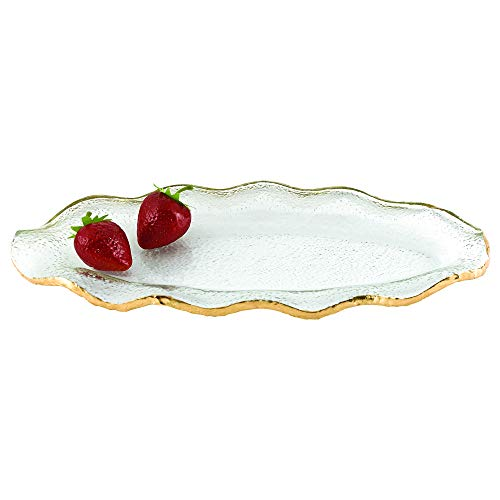 - Badash Goldedge Collection Mouth Blown Textured Glass Wavy Platter 14 x 7 inches