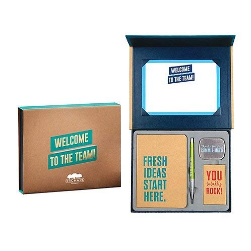 New Employee Welcome Gift Set Kit - Sign able Certificate, Small Bound Journal, Blue Ink Retractable Ballpoint Click Pen, 6 Praise Cards, Breath Mints - Teal and Gold - Logo Personalization -