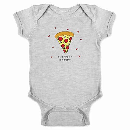 You've Stolen A Pizza My Heart Funny Graphic Gray 6M Infant Bodysuit (Pizza Onesie)