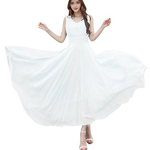 Party Dress,Caopixx Bridal Jewel Neck Bridesmaids Dresses Retro Chiffon Evening Gowns Cocktail Dresses (Asia Size 3XL=US Size 2XL, White)
