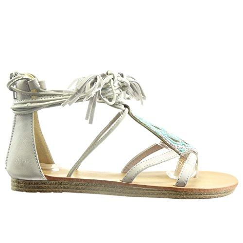 Angkorly - Scarpe da Moda sandali aperto donna frange pon pon perla Tacco tacco piatto 1.5 CM - Grigio