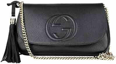98b11a4597fc4b Gucci Interlocking GG Black Leather Chain Strap Flap Shoulder Bag 336752  1000