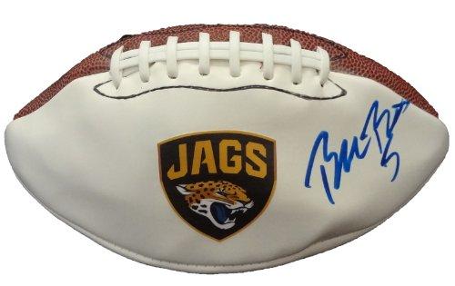 Blake Bortles Autographed Jacksonville Jaguars Logo Football W/PROOF, Picture of Blake Signing For Us, Jacksonville Jaguars, UCF Knights, Central Florida, 2014 NFL Draft, Top Prospect
