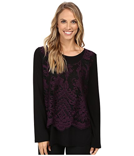 Karen Kane Women's Flare Sleeve Embroidered Top Eggplant Shirt