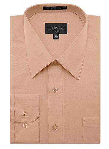 Mens Regular Fit Dress Shirt w/Reversible Cuff 5XL 21-21.5N-36/37S Blush Shirts by JC DISTRO