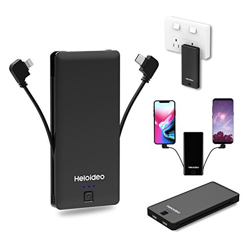 iPhone Lightning and USB-C AC Plug Power Bank with Built-in Cables, Heloideo 5000mAh Portable Charger for iPhone 8 Plus, Moto Z Play and other Lightning or USB-C Devices(Type C+Lightning (Black))