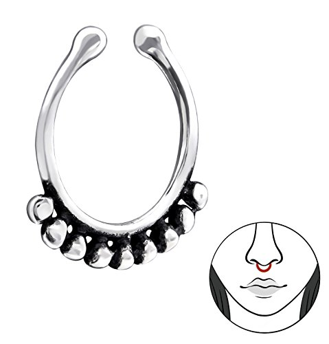 Best Wing Jewelry .925 Sterling Silver ''Bali-Style / Tribal-Style'' Tiny Small Non-Piercing Septum Piercing Clip-On Nose Clip, Nose Rings or Lip Rings by Best Wing Nose Studs & Clips