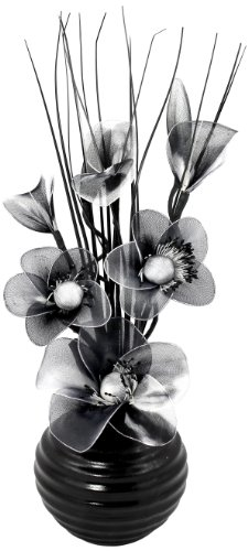 Flourish - 704490 - 813 Glass Vase with Black and White Nylon Artificial Flowers in Vase, Ornament, Fake Flowers - Black (Best Artificial Flowers Uk)