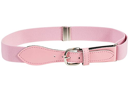 - Kids Elastic Adjustable Belt with Leather Closure - Light Pink