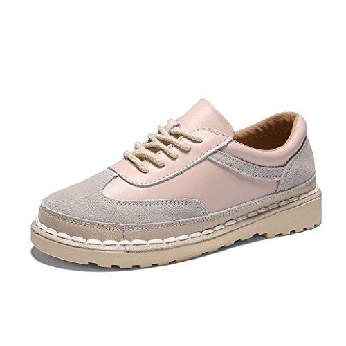 HWF Chaussures femme Printemps décontracté plat chaussures plates simples style rétro femmes chaussures femmes ( Couleur : Kaki , taille : 36 ) Rose