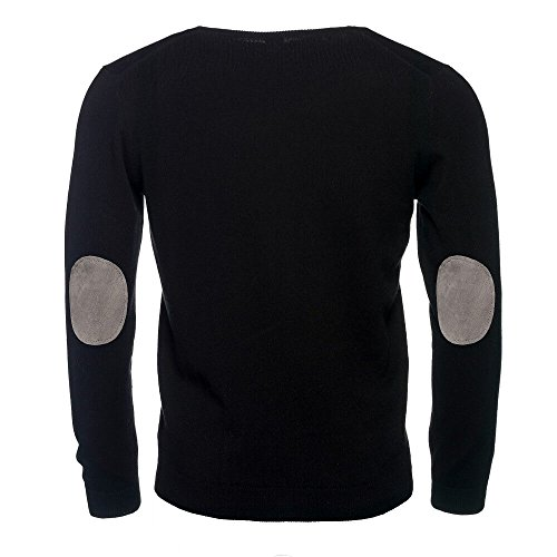 Noir Coudes Elégant Allbow Homme Coton Col Patches Chandail Tricot V Gris Avec Aux zBXqw4Xnx