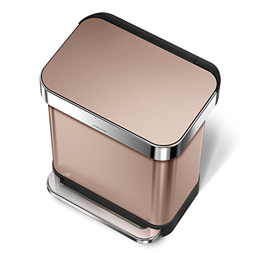 simplehuman Rectangular Step Trash Can with Liner Pocket, Rose Gold