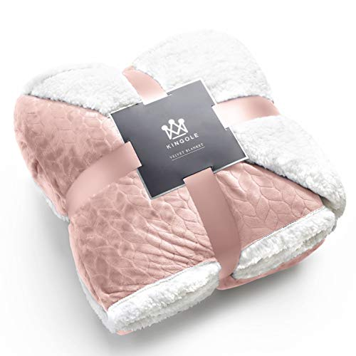 (Kingole Double-Layer Reversible Luxury Sherpa Blanket, Timid Pink King Size Extra Warm Super Soft Cozy Plush for Couch/Bed Microfiber 580GSM (108