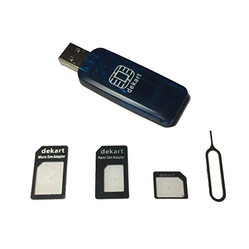 Dekart SIM Card Reader with Powerful SIM Card Management Software for Windows PC (Micro & Nano SIM Adapters included)