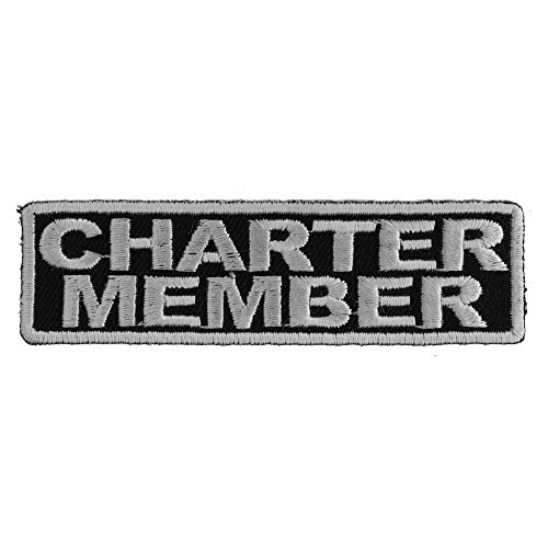 Charter Member - Charter Member Patch White - 3.5x1 inch. Embroidered Iron on Patch