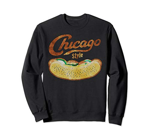 Chicago Style Hot Dog Distressed Sweatshirt (Hot Dog Sweatshirt)