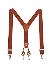 Toddlers Boys Kids Adjustable Suspenders - Y Back Heavy Duty Suspenders for School Uniforms Tuxedos (Brown, 23.6 Inch (7 Months - 3 Years))