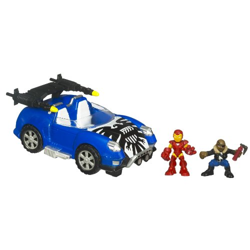 - Marvel Superhero Squad Battle Vehicle - Hover Car With Iron Man And Nick Fury