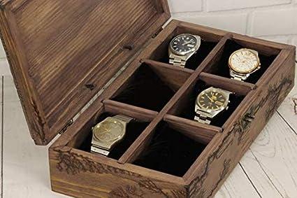 Caja de reloj de madera, caja rústica hecha a mano, caja de reloj vintage, organizador de relojes, caja personalizada, caja de joyería para hombre, caja para 6 relojes: Amazon.es: Oficina y papelería