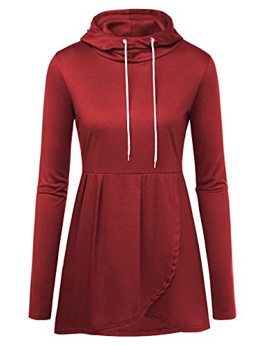 - Women's Funnel Neck Long Sleeve Hoodie, Spring Autumn Solid Color Split Hem Drawstring Knit Tunic Top Blouse Sweatshirts Red Wine S