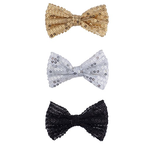 k Silvertone Gold Sequin Glitter Bow Clip Set (Black Glitter Bow)