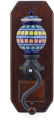 Polish Pottery 14¼-inch Hanging Coffee Grinder (Stained Glass Theme) + Certificate of Authenticity from Polmedia Polish Pottery
