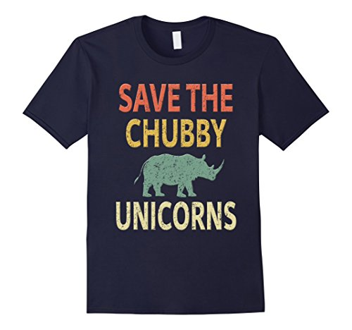 Retro Unicorn (Mens Save The Chubby Unicorns Shirt. Vintage Retro Colors Tee 2XL Navy)