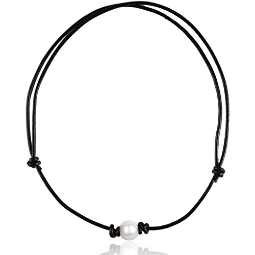 Necklace Choker Adjustable - Barch One Single White Pearl Choker Necklace Adjustable with Genuine Black Leather Cord for All Girls, 12.5