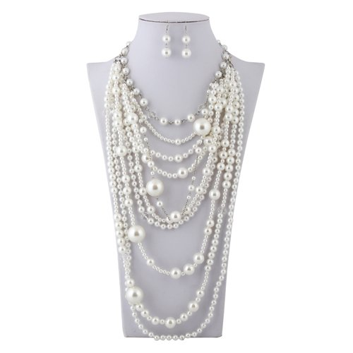 Lanue Fashion Multilayer Strand Simulated Pearl Statement Necklace and Earrings Set Women Long Sweater Chain Choker Necklace (Silver, Style 2) -
