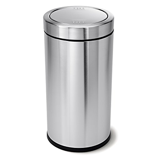 Stainless Steel Push Top Lid - simplehuman Swing Top Trash Can, Commercial Grade, Stainless Steel, 55 L / 14.5 Gal