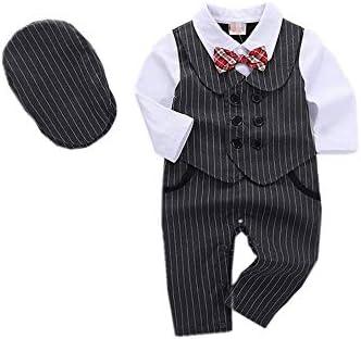 (タコ)男の子 ストライプ スーツ 2点セット 長袖 ロンパース 帽子 重ね着風 フォーマル ボーイズ ベビー キッズ 入園式 卒園式 卒業式 結婚式 春秋冬