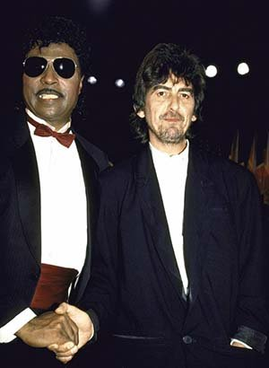 Photo Musicians Little Richard George Harrison at Rock & Roll Hall of Fame.