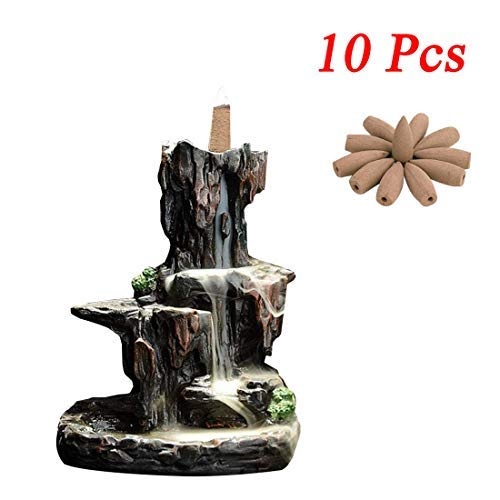 (Milky Way Ceramic Waterfall Backflow Incense Burner Incenser Holder Home Decor Mountain River Handicraft Incense Holder Backflow Incense Cones with 10 Pieces(Style Waterfall))
