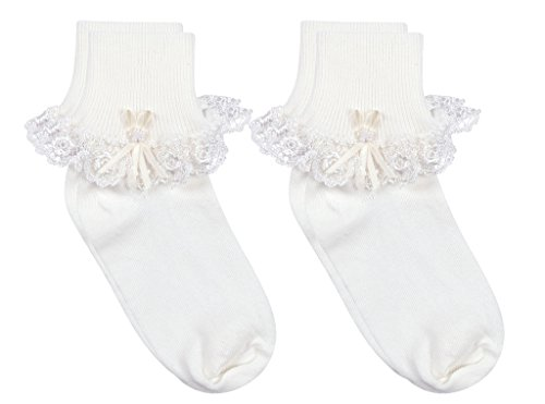 Country Kids Little Girls' Cotton Turncuff Socks with Venice Lace and Pearl Ribbon Streamer, Pack of 2, Fits 2-4 years (shoe size 6-11.5), White ()