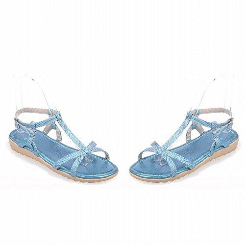 Carol Scarpe Moda Donna Fibbia T-strap Casual Comfort Sandali Piatti Lucidi Blu