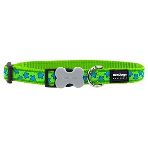 Red Dingo 25mm Lime Green with Blue Stars Dog Collar, Large