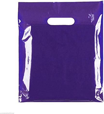 100 nuevo troquelado mango bolsas de plástico de la compra transportista regalo 15